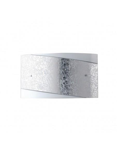 Applique Rettangolare In Vetro Foglia Argento Paris 35x20cm Fan Europe