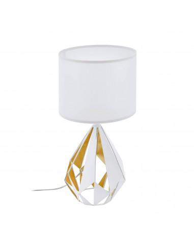 Lampada Da Tavolo Carlton 1xe27 Bianco E Oro O25 Cm Eglo